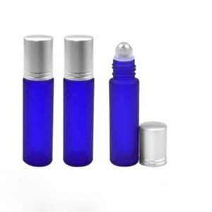 10ml Blue Frosted Glass Roller Bottle