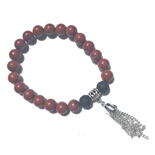Handmade Diffuser Bracelet - Red Jasper with Tassel Charm