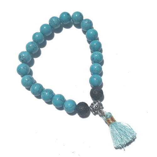 Handmade Diffuser Bracelet - Turquoise with Tassel Charm